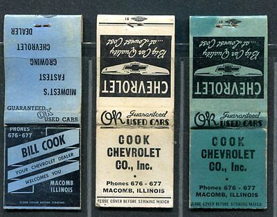 Macomb IL ~ Cook Chevrolet -- 3 older matchbook covers
