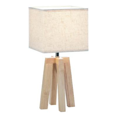 modern abstract wooden tripod bedside end Table Lamp desk light & square shade