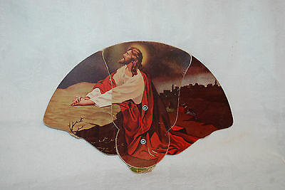 VINTAGE CARDBOARD MOURNING FAN , RELIGIOUS , WITH ADVERTISING BACK Jesus