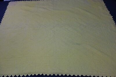 1900's Amana Summer Quilt-Yellow w/Flowers- 65x83-One Piece Design- UNUSUAL-SALE