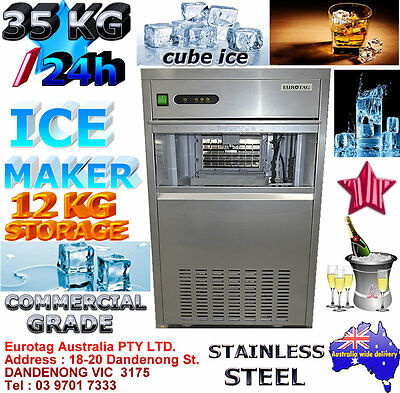 EUROTAG HEAYV DUTY COMMERCIAL CUBE ICE MAKER MACHINE 35KG 24h 12KG STORAGE