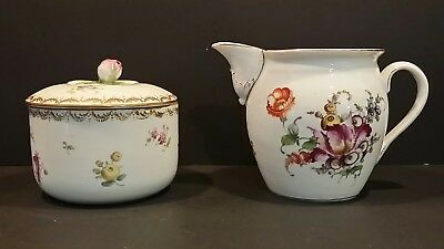 Antique Meissen Porcelain Sugar and Creamer with Rose Top Hand Painted Floral