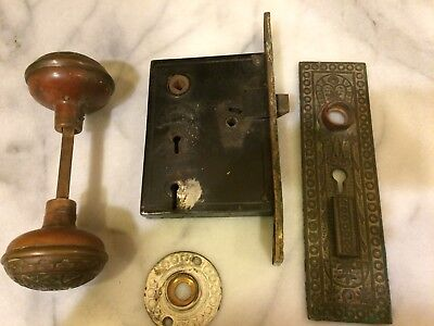 Antique Eastlake NORWALK Double Key Door Knob Set with Mortise Patent 1865 (GC5)