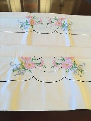 Lovely Vintage Pair Of Floral Pillowcases. Hand Embroidered