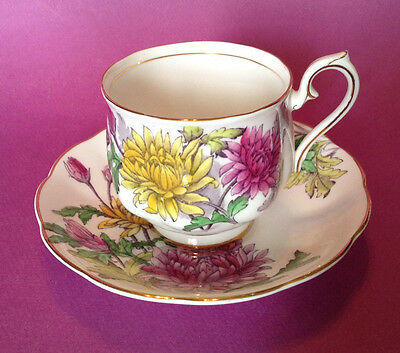 Royal Albert Tea Cup And Saucer - Chrysanthemum Flower Of Month - Yellow Pink