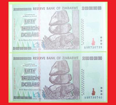 Zimbabwe 50 Trillion Dollars X2 (100 Trillion Total) Used/circulated, 2008 Aa