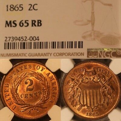 NGC MS65 RB 1865 Two Cent Piece Red-Brown PQ+ Blazing Luster 95% Red NICE!
