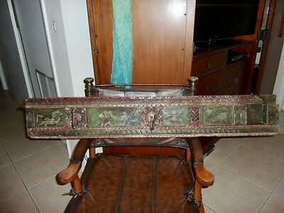 Amazing antique architectural teakwood hand carved /painted wall/India rack