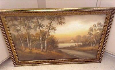 Victorian Lg Impressionist Pastel Painting Flaming Fall Foliage~William Chandler