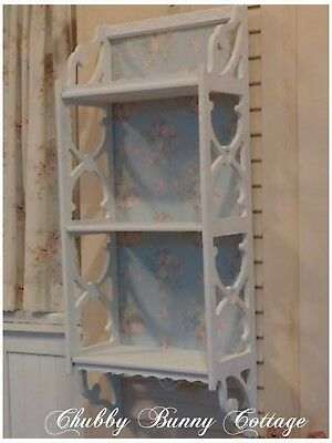 Shabby romantic cottage chic White cutout shelf with blue floral backing