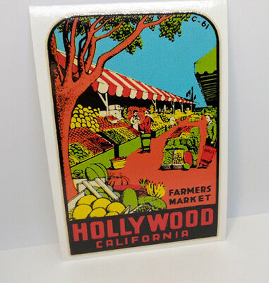 Hollywood California Farmers Market Vintage Style Travel DECAL / Vinyl STICKER