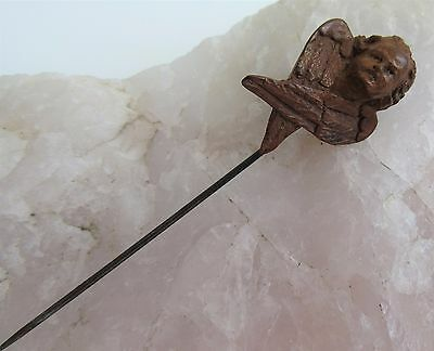 RARE Antique Cherub Stick Pin Carved Fruitwood Renaissance Angel Wings Germany