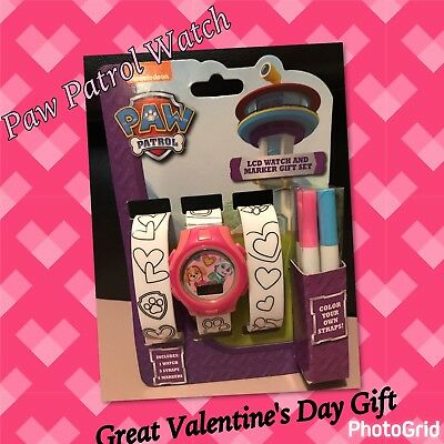 Paw Patrol Girl's LCD Watch 3 Interchangeable Bands to Color, Wear as Bracelets