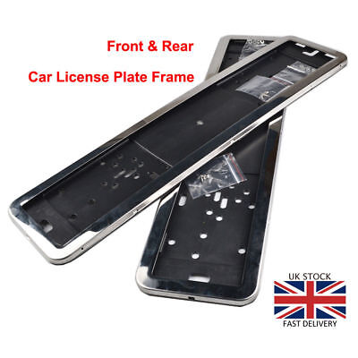 2x Chrome 100% Stainless Steel EU UK License Number Plate Holder Frame Surrounds
