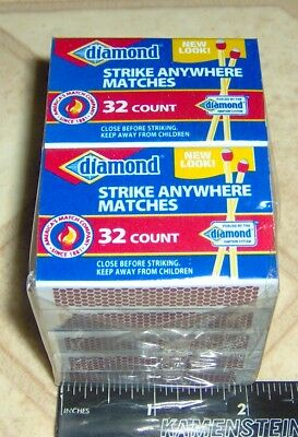 10 BOXES Red & White Small STRIKE ANYWHERE PENNY MATCHES Diamond Wood 32 x 10