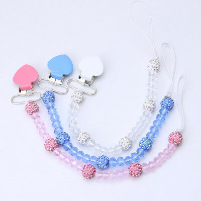 Baby Fashion Soother Leash Strap Crystal Chain Bling Nipple Heart Pacifier Clips
