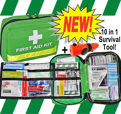 FIRST AID KIT - PREMIUM ESSENTIAL - HOME / TRAVEL / CAR / HIKING / CYCLING+10in1