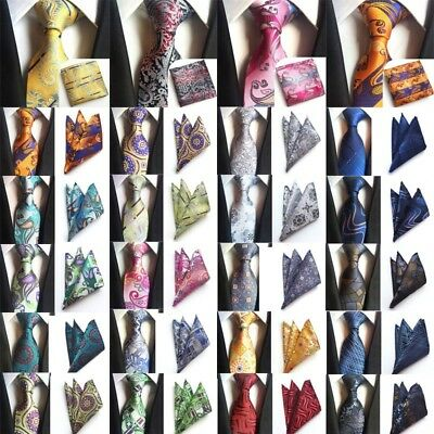 Men Classic Paisley Neck Tie And & Pocket Square Hankie Set Formal Party Wedding