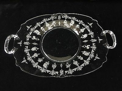 """Heisey Lafayette 13"""" Hor D'oeuvre Tray with handles Empress Queen Anne"""