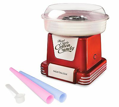 Nostalgia Retro Electric Commercial Cotton Hard Candy Maker Red Machine Kit 450W