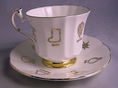 Vtg Red Rose Tea Cup Of Fortune #1 Cup & Saucer Taylor & Kent England