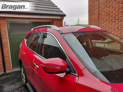 To Fit 2014+ Nissan X-Trail Polished Aluminium Side Roof Rails Rack Bars