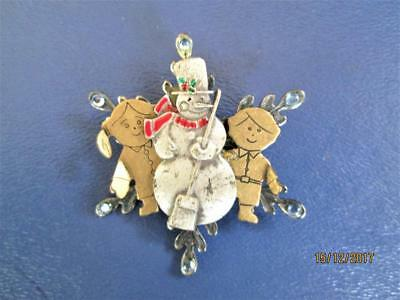Vintage Snowman With Kids On A Snowflake Christmas Pin