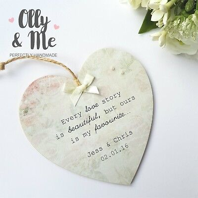Floral Wedding Anniversary Gift For Husband Wife Wood Heart Sign Plaque Keepsake
