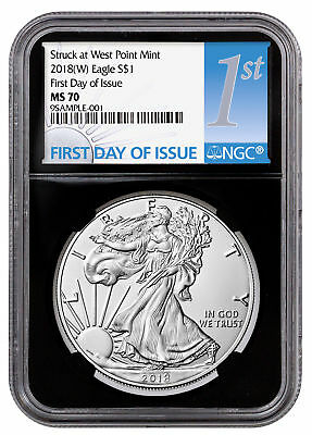 2018-(W) Silver Eagle Struck at West Point NGC MS70 FDI Black Label SKU51290