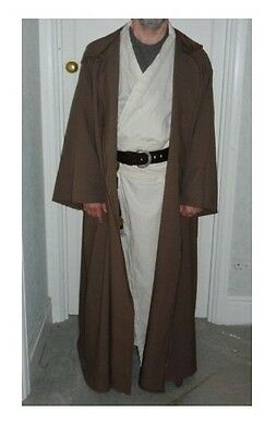 oversized taupe brown  hooded cloak with sleeves. jedi monk