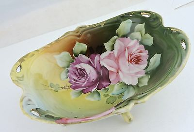 Antique Berry/dessert/ice Cream Footed Bowl Hand Painted Rose Flower,gold,pink