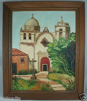Vintage 1963 Oil Canvas Painting Church Or Castle Scene Artist Signed  Framed