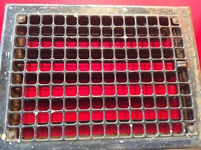 "Vintage Stamped Steel Floor Heat Grate Register Vent Old Hardware 14"" x 16"""