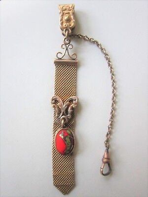Vintage Gold Filled Mesh Pocket Watch Fob and Chain Victorian Marked CHM CRM
