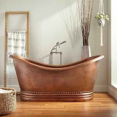 SIGNATURE HARDWARE Paige Hammered Copper Double Slipper Tub ...