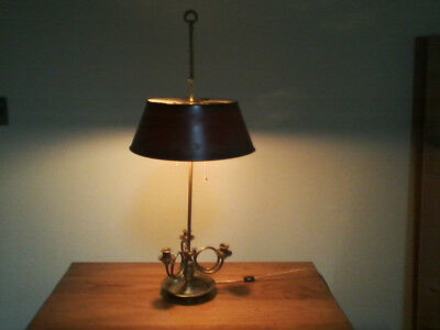 Vintage French Bouillette electrified brass three candle lamp w/red tole shade