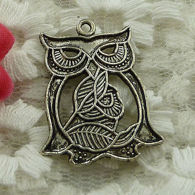 free ship 28 pieces Antique silver owl charms 28x23mm #2608