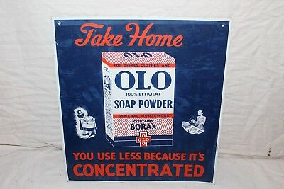 "Vintage 1940's Olo Soap Powder Kitchen Laundry Gas Oil 16"" Metal Sign"