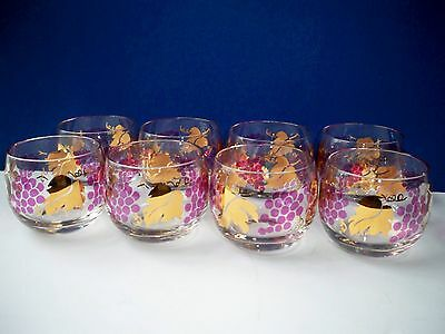 8 Vintage Federal Glass Roly Poly VINO Grapes & Gold Leaf Handblown with  Box