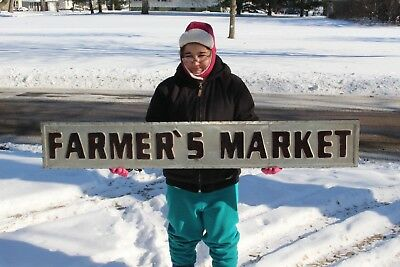 """Large Farmer's Market Farm Feed Seed Gas Oil 60"""" Embossed Metal Sign"""