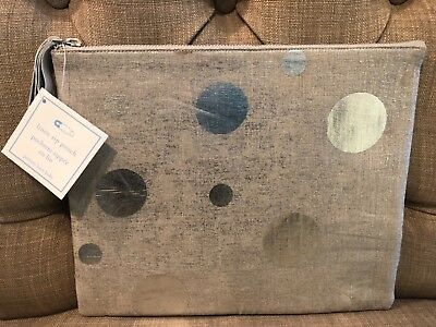 Pottery Barn Kids Baby Linen Large Zip Silver Dots Pouch NWT