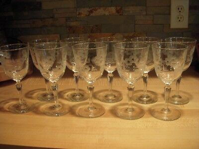 10 Circa 1955 Libbey Glass Embassy 7-inch Water Goblets : Cut Floral