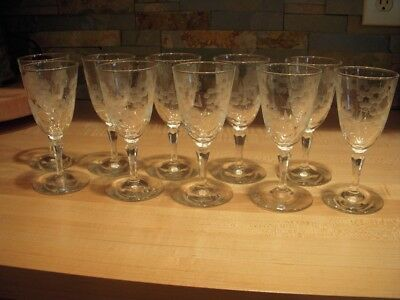 10 Circa 1955 Libbey Glass Embassy 5 3/4-inch Wine Goblets : Cut Floral