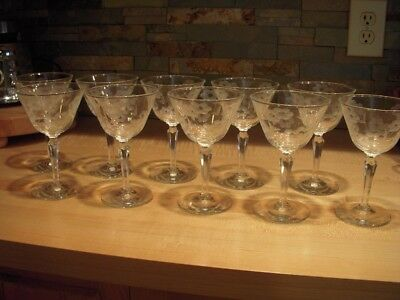 10 Circa 1955 Libbey Glass Embassy 6-inch Champagne / Tall Sherbets : Cut Floral