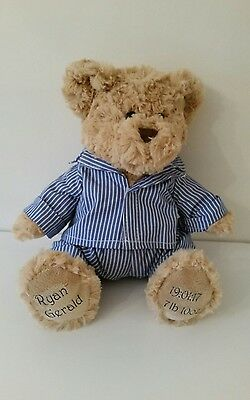 Personalised Teddy Bear plush cuddly toy unique gift  ANY NAME BABY 1st birthday