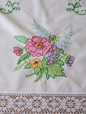 2 Vintage Hand Embroidered Lace Edge Dresser Scarves  End Table Covers