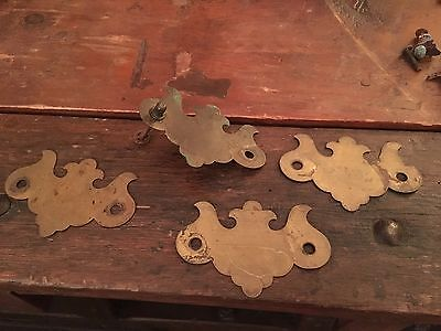 Set Of 5 Antique Brass Chippendale Drawer Pulls