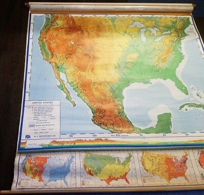 VINTAGE Nystrom Pull Down Classroom Map of UNITED STATES Collectors 1964