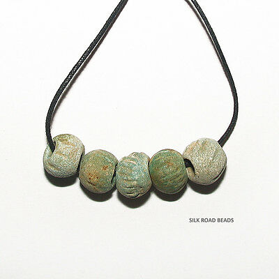 5 amazing ancient egyptian faience glass large melon beads egypt 3,000+ y/o #10h