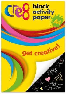 60 Sheet Book Of A4 Black Activity Paper Arts Crafts School Childrens Projects